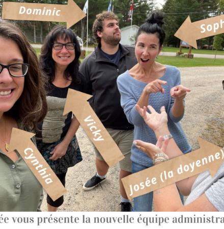 Arrivée en poste de Sophie Dionne, Cynthia Diotte, Dominic Brazeau et Vicky Lefebvre.